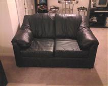 2 pc Black Leather Couches
