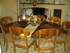 Round dining table with 8 chairs