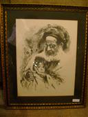 Rabbi and Child Framed Etching