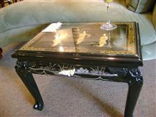 Black Inlaid Chinoisere End Table