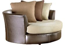Brown and Tan Sectional and Swivel Chair