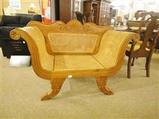 Indonesian Carved Settee with Cane Seat