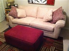 Cream Sleeper Sofa (Queen) & Red Ottoman