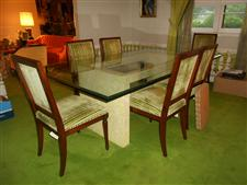 Glass Top Dining Table and 8 Chairs