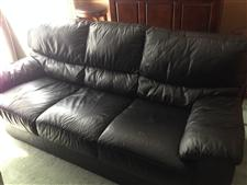 Black Genuine Leather Sofa